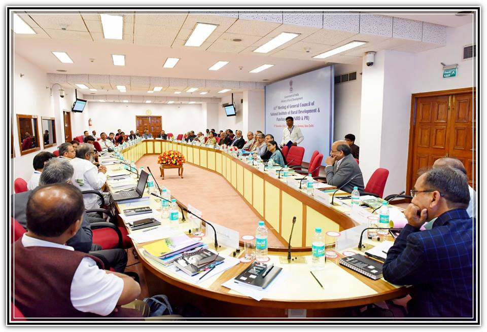 """Hon'ble Minister of Rural Development, Panchayati Raj & Mines, Shri Narendra Singh Tomar chaired the """"61st Meeting of General Council of the National Institute of Rural Development & Panchayati Raj (NIRD&PR)"""" on 8th December, 2018."""