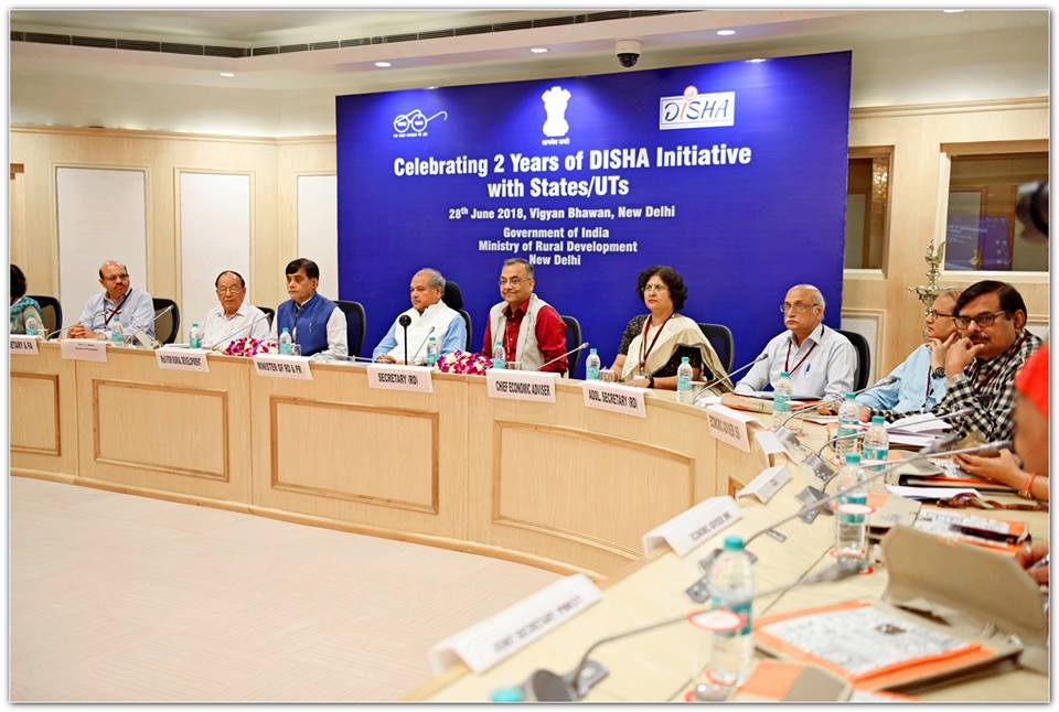 Honble Minister of Rural Development, Shri Narendra Singh Tomar and Minister of State, Shri Ram Kripal Yadav participated in the Workshop on Celebrating 2 Years of DISHA Initiative with States or UTs on 28th June, 2018