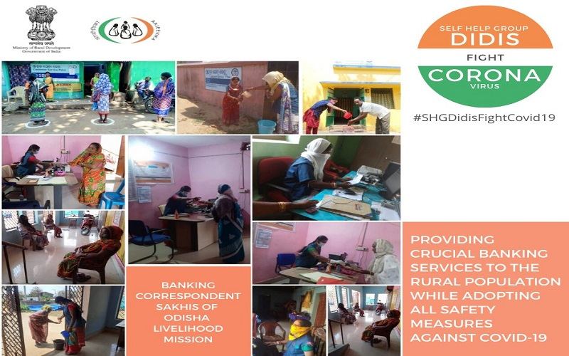 #BankingCorrespondenceSakhis of #OdishaLivelihoodMission continue to provide crucial banking services to the rural population especially women by adopting all safety measures as instructed by #GoI and Banks against #COVID19 #SHGDidisFightCovid19 @PMOIndia   @narendramodi   @nstomar
