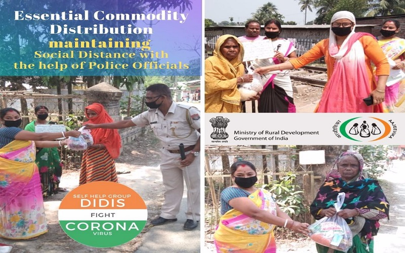 Distribution of emergency #food to the needy during the #COVID19Pandemic maintaining #socialdistancing. Members of Anunuday #VillageOrganisation do it with the help of Police Personnel at #Rupahi #Grampanchayat #Assam #SHGDidisFightCovid19 #essentialcommodities #IndiaFightsCorona
