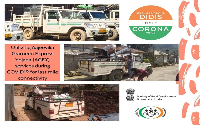 Community run #rural transport services under Aajeevika Grameen Express Yojana #AGEY of  @DAY_NRLM  providing #essentialservices in remote areas of #Mizoram during #Covid19lockdown #SHGDidisFightCovid19 #essentialcommodies