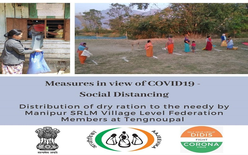Relief measures by #SelfHelpGroupDidis of #Manipur #SRLM during the lockdown. Providing dry ration to the needy at #Tengnoupal by maintaining #SocialDistance and giving out the message #ApartbutTogether,  #SHGDidisFightCovid19 #essentialcommodies #COVID19Pandemic
