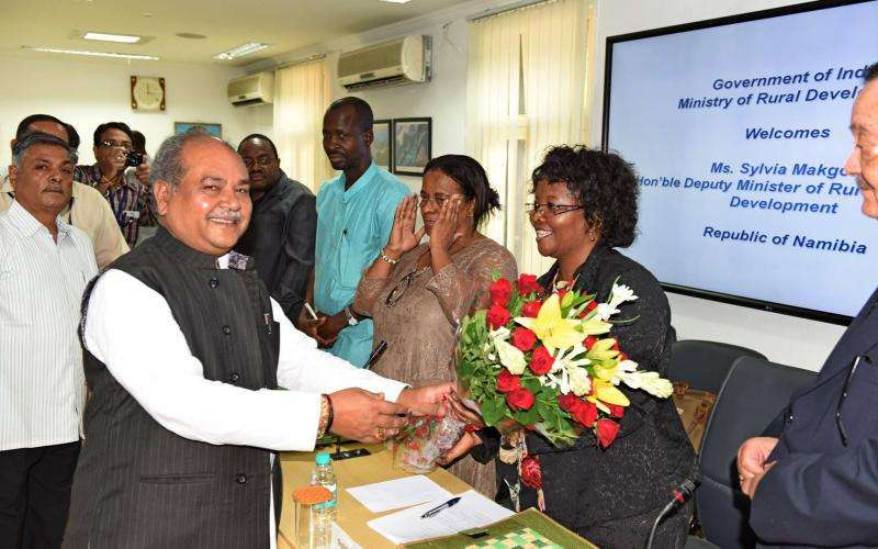 Meeting with  Minister of Rural and Urban Development, Namibia with Shri Narendra Singh Tomar, Minister of Rural Development on 12th September, 2016.