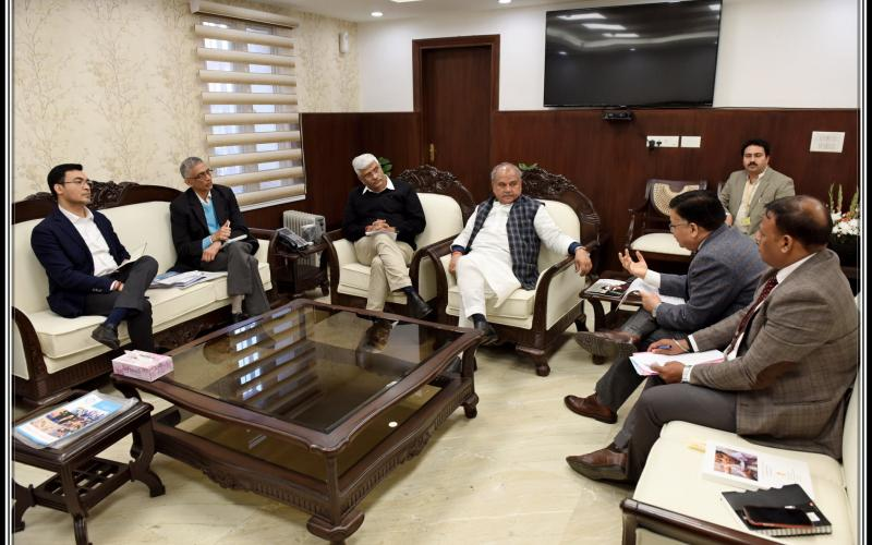 Hon'ble Minister Of Jal Shakti, Shri Gajendra Singh Shekhawat meeting with Hon'ble Minister for Agriculture, Farmers Welfare and Rural Development and Panchayati Raj Sh. Narendra Singh Tomar on 12th February, 2020.