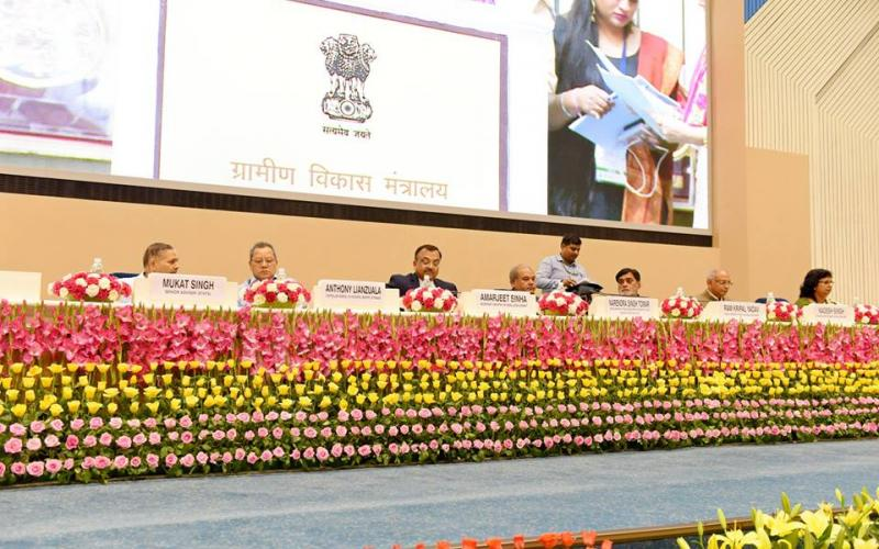 Hon'ble Minister of Rural Development, Shri Narendra Singh Tomar and Hon'ble Minister of State for Rural Development and Land Resources Shri Ram Kripal Yadav gave away awards at the Award Distribution Function at Vigyan Bhawan, New Delhi on 19th June,17