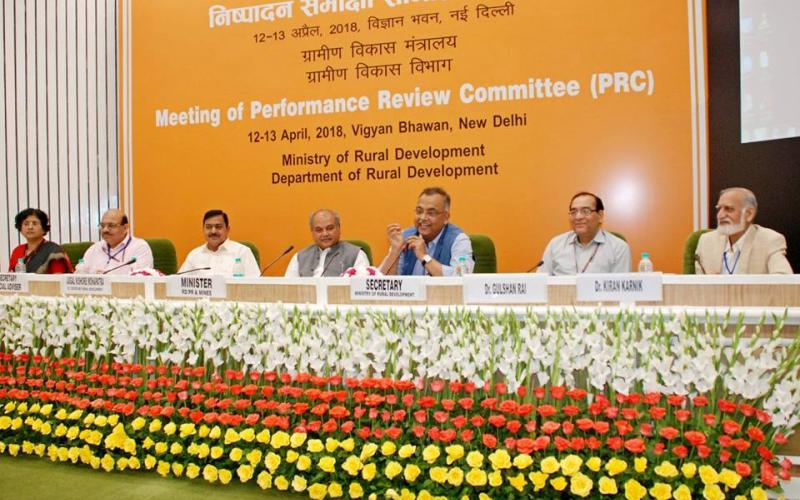 Hon'ble Minister of Rural Development Shri Narendra Singh Tomar attended the meeting of Performance Review Committee on 13th April, 2018.