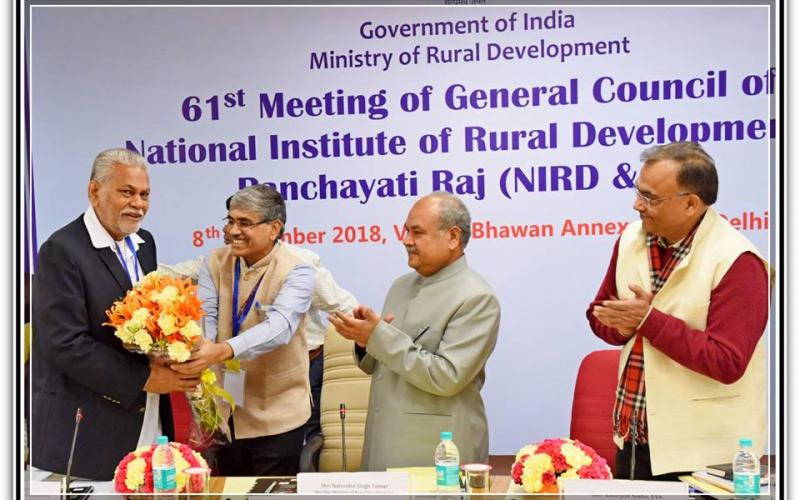 "Hon'ble Minister of Rural Development, Panchayati Raj & Mines, Shri Narendra Singh Tomar chaired the ""61st Meeting of General Council of the National Institute of Rural Development & Panchayati Raj (NIRD&PR)"" on 8th December, 2018."