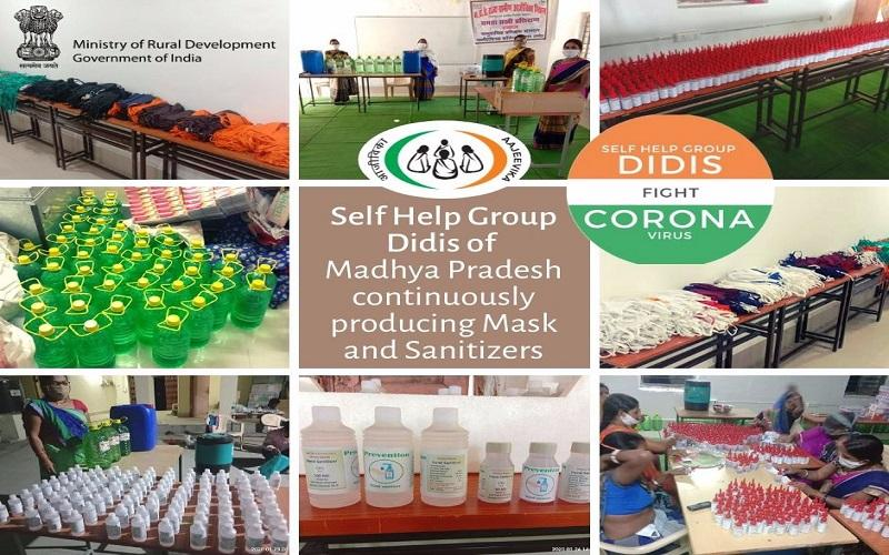 Preventing infections due to #COVID19. #SelfHelpGroupDidis of #MadhyaPradesh produce #masks and #sanitizers to meet the current demand. #SHGDidisFightCovid19 #essentialcommodities  @PMOIndia   @narendramodi   @nstomar   @PIB_India   @SadhviNiranjan   @DDNewslive   @DAY_NRLM