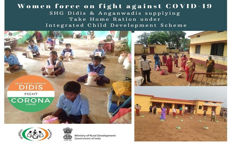 #SHGDidis supporting Anganwadis under Integrated Child Development Scheme in home visits and reaching out to mothers and children to provide them with take-home ration during #COVID19Pandemic in #Chhattisgarh  #SHGDidisFightCovid19  @cgsrlm   @DAY_NRLM