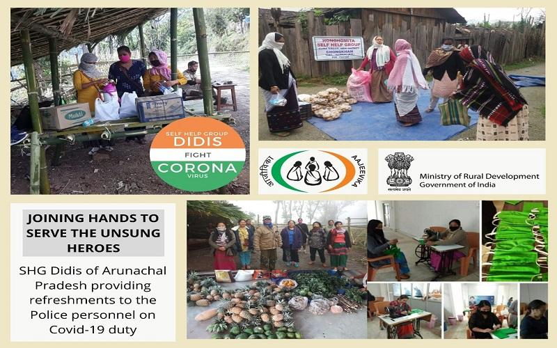 Proud of #SHGDidis from #ArunachalPradesh who extended financial & social help to District Administration by providing meals, refreshments, face masks & essential goods to on-duty Police personnel during #COVID19  #SHGDidisFightCovid19 @DAY_NRLM   @PIB_India