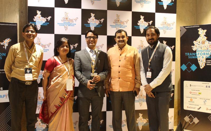 Dr. Ajay S. Sigh CCA, MoRD, PR, DWS & LR,  Dr. Yashu Sharma, ACA, MoRD, Ms. Manie Khaneja, Sr.TD, NIC, Sh. Sanjay Joshi, TD, NIC and Sh. Ganesh KVVSS, Management Consultant at the Award Ceremony